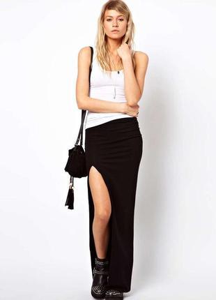 Трендовая юбка в пол с вісоким разрезом
