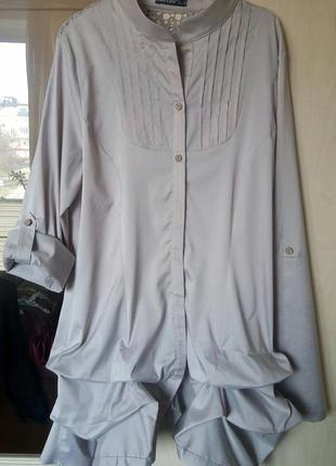 Нарядная блуза туника с кружевной спинкой