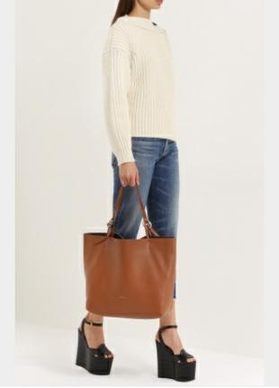 Коричневая сумка-шоппер, шопер, большая с длинными ручками, очень вместительная