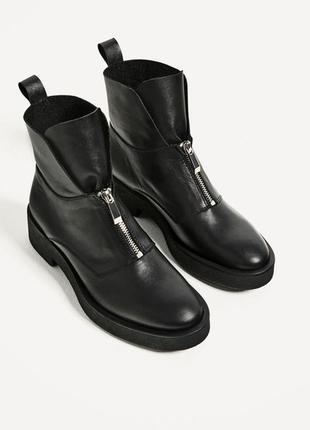 Очень крутые кожаные ботинки zara