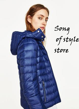 Zara легкая куртка-пуховик с капюшоном