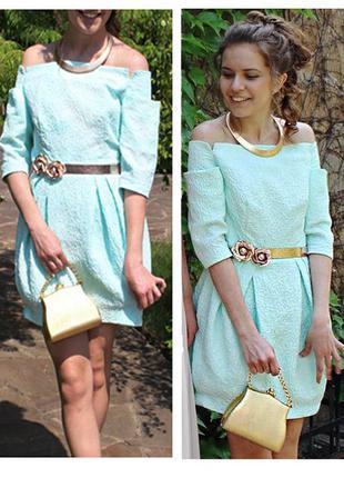 Коктейльное  выпускное мятное платье