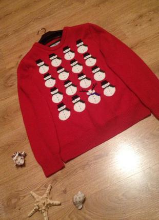 Супер стильный свитер пуловер джемпер с снеговиками /под джынсы /бренд   next / l