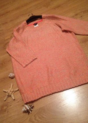 Стильный длинный свитер пуловер /меланж/ новый/бренд   h&m