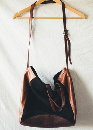 Оболденная кожаная  сумка zara