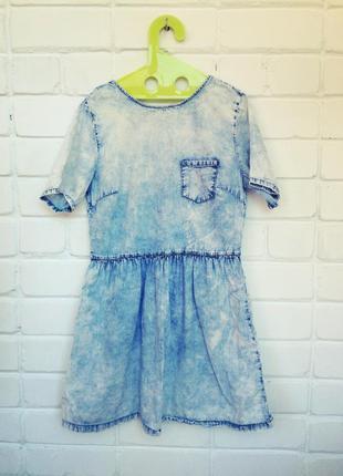 Джинсовое платье варёнка с рюшами