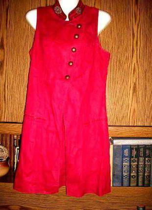 Туника платье promod льняная вышитая бисером