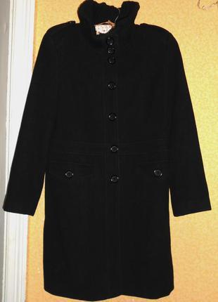 Черное шерстяное пальто от next
