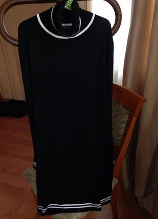 Черное платье mango по фигуре на осень и весну (теплое с горловиной, длинный рукав)