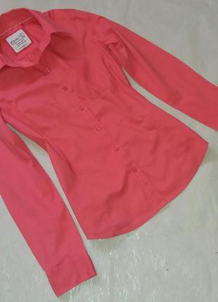 Блузочка рубашечка esprit коралового цвета размер 36/10 (см.замеры)