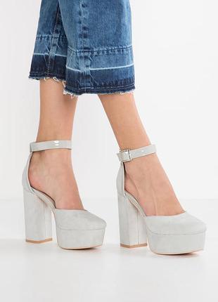 Туфли босоножки с ремешком толстый каблук босоножки замш трендовые стильные