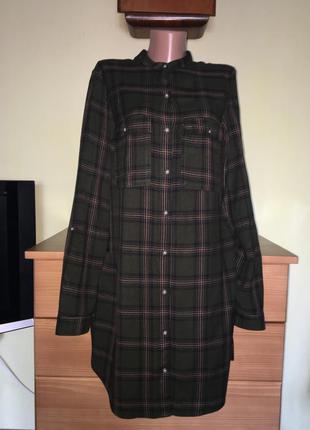 Платье-рубашка в клеточку