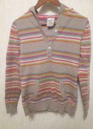 Тонкий свитерок next с капюшоном 100%  шерсть ягненка шерстяной свитер джеппер худи кенгуру