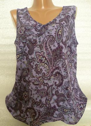 Блуза шифоновая с узором *огурцы* *пейсли*, летняя