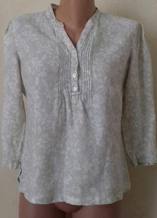 Льняная рубашка с принтом цветы marks & spencer