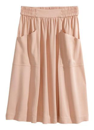 Расширенный  розово-пудровая юбка h&m s-m