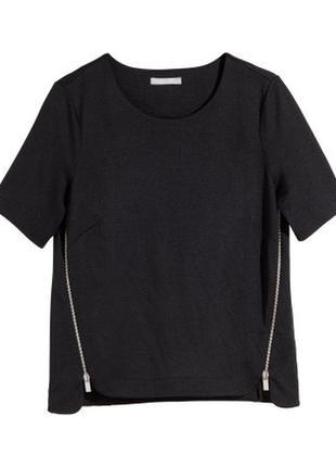 Укорочённый топ от h&m с молниями футболка корп оверсайз