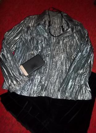 Нарядный серебристо-стальной пиджак , жатка, l-xl