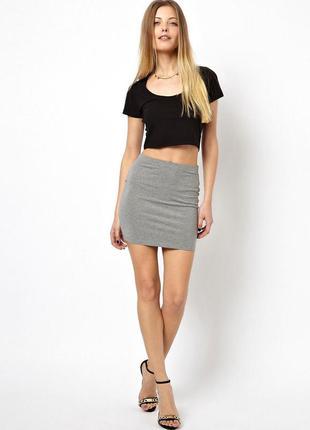 Крутая юбка topshop (с молнией,молния сзади,трикотажная)