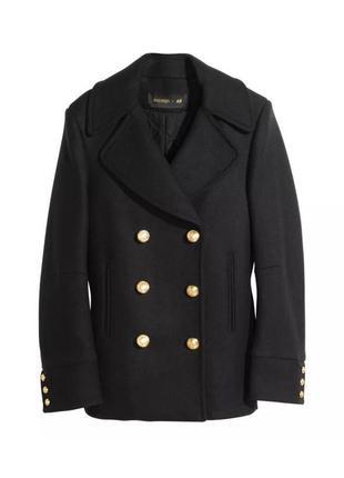 Пальто черное на пуговицах h&m