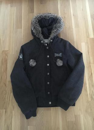 Куртка бомбер деми серая everlast оригинал с капюшоном