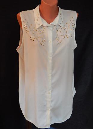 Молочкая блуза без рукавой от betty barclay (размер 42-44)