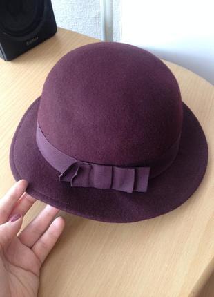 Шерстяная шляпа цвет бордо марсала шляпа на весну-осень шерсть модная шляпа с полями