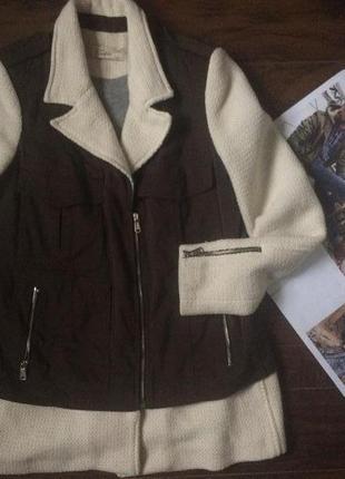 Стильне комбіноване пальто zara