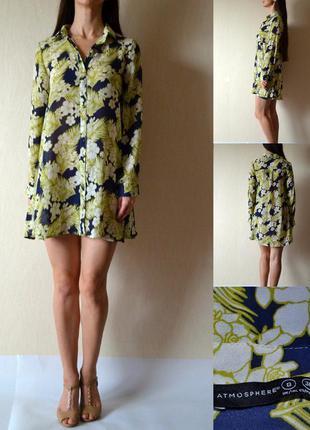 Красивое шифоновое платье рубашечного кроя