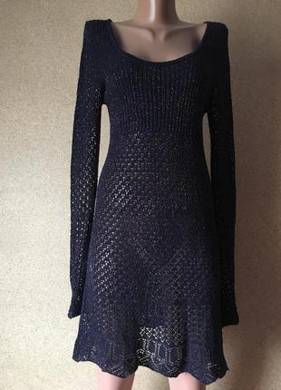 Платье-туника сетка с золотистой нитью низкая цена