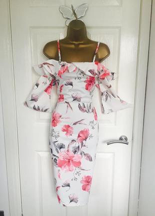 Платье asos edge миди с открытыми плечами и светлым принтом