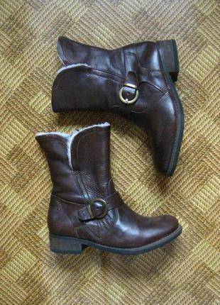 Кожаные сапоги, ботинки - еврозима - janet d. - 36р. - стелька 23см.