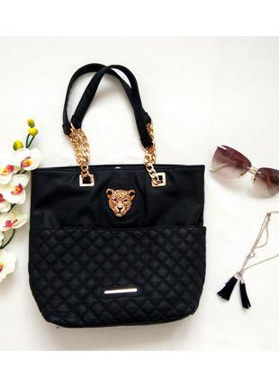 Черная сумка, сумочка с короткими ручками,с леопардом бренда river island