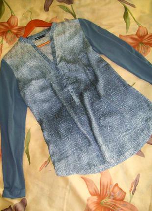 Блуза атласная, серебристая