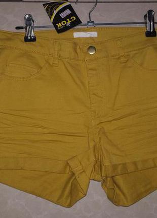 Стильные горчично-желтые шортики h&m - на европ. 38 р-р