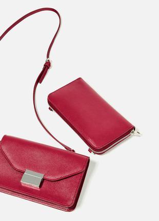 Красная сумка сумка-кошелёк кроссбоди crossbody от zara