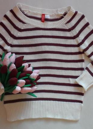 Красивый хлопковый свитер h&m в бордовую полоску в размере 36-s