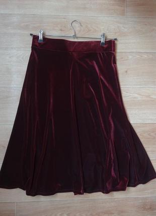 Бархатная юбка цвета марсала м- размера . трендовая