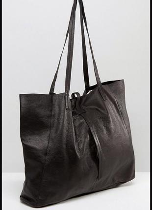 Vip стильная большая кожаная сумка шоппер - 100% натуральная кожа – asos