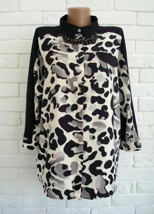 Стильная рубашка с трикотажной спинкой next uk18 большой размер в идеальном состоянии