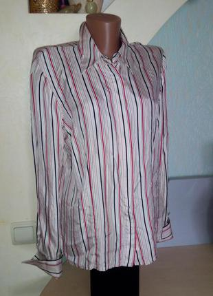 Шелковая блузка в полоску с пуговицами из натурального перламутра