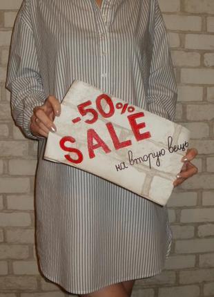 Распродажа -50% на вторую вещь! полосатое платье рубашка h&m,свободное прямое платье хлопок
