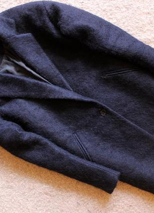 Шерстяное темно-синее бойфренд-пальто newlook