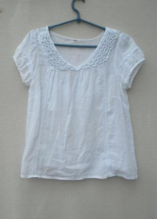 Легкая хлопковая блузка с коротким рукавом