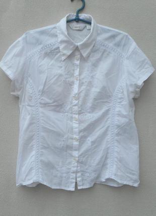 Летняя хлопковая блузка вышиванка с воротником с коротким рукавом