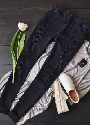 Темносерые рваные джинсы asos