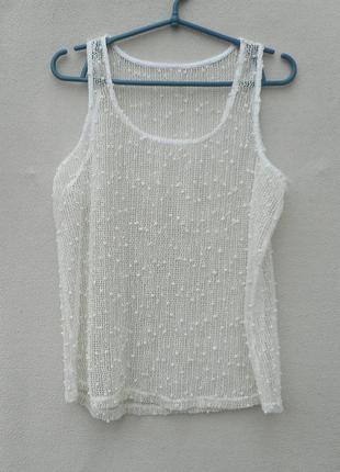 Летняя прозрачная блузка сетка без рукавов