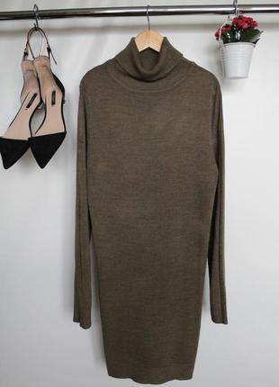 Стильное платье с длинным рукавом цвета хаки