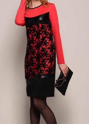 Платье черно-красное комбинированное с оригинальной отделкой