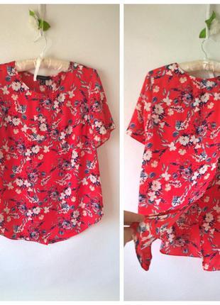 Блуза с разрезом на спине цветочный принт xxl